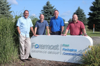 Foremost Graphics partners, from the left, include: Mark Oosting; Tim Karel; Paul Kelly; and Brian VanderHooning.