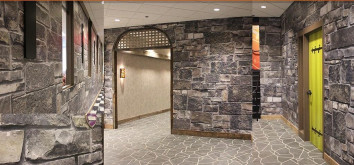 Environmental Graphic: To create this look, the Suttle-Strauss team used printable digital wallcovering media from Korographics and produced the design on two EFI VUTEk GS3250LXprinters.
