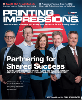 Modern Litho appeared on the January 2017 cover of Printing Impressions.