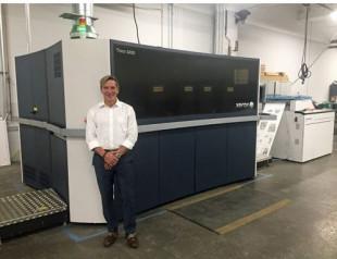 Mercury Print President John Place with Xerox Trivor inkjet press.