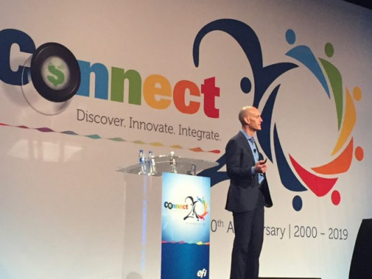 New EFI CEO Bill Muir delivers keynote at EFI Connect 2019 conference.