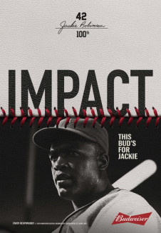 budweiser jackie robinson film and bottle