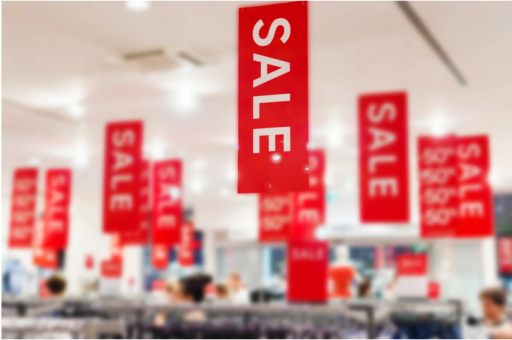 example of banners in a store for wide-format printing