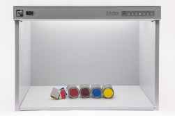 GTI MiniMatcher-2436e color matching systems have a viewing area of 22.75x36x23˝. It includes five standard light sources.