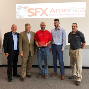 Canon and SFX excutives, Canon Solutions America Celebrates 5,000th imagePRESS Placement At Maine-based SFX America