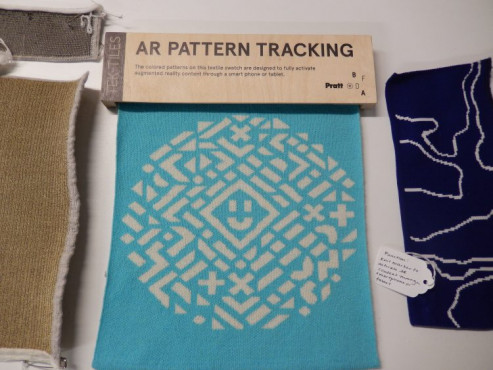 AR Pattern Tracking textile swatch is designed to activate augmented reality content when scanned with a smartphone or tablet.