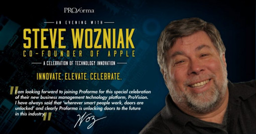 Steve Wozniak, Co-Founder of Apple, will join Proforma in a celebration of their new business management technology platform, ProVision, on Sunday Jan. 12, 2020 at The PPAI Expo.