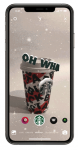 Starbucks introduced four limited edition cup designs, each of which come to life with an AR effect on Instagram built from Facebook's AR platform.