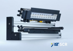 An LEDcure SCR unit from IST is mounted in a frame to simulate the installation on a narrow-width web press.