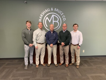 Three generations are represented at Marshall & Bruce. They include, from left, Duncan Smith, operations; Dudley Smith, VP of sales; Bob Smith, former CEO (retired); Chip Smith, president; and Rob Smith, sales.