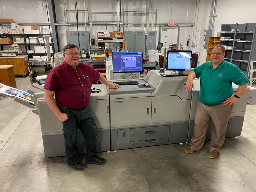 From left, Walter Landis, production manager at Campbell Print Center, and John Beery, president at Campbell Print Center.