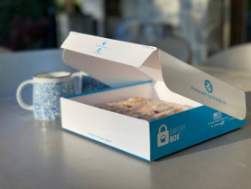 CompanyBox has developed a takeout box and bakery box with a single use seal, which keeps the food securely inside until the recipient removes the adhesive tear strip.