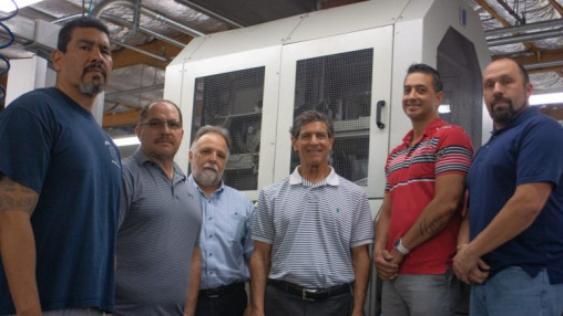 Pictured above are team members of Roswell Bookbinding, in Phoenix, which was acquired by BindTech. From the left, in front of a newly installed Kolbus BF527 casing-in line, are Jorge Ramirez, operator; Chris Karas, finishing supervisor; Jim Menke, customer service manager; Mike Roswell, GM; Kortez Brown, VP, specialty finishing; and Bryan Way, production manager.