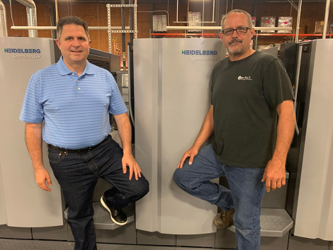 From left, Joe Olivo, president, and Mike Hartman, pressman, both at Olivo's Perfect Printing.