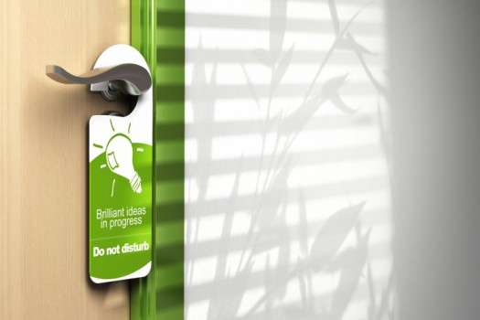 Double-sided printing in color makes a door hanger an attractive piece that can be further enhanced with diecutting, coating, and other high-end touches.