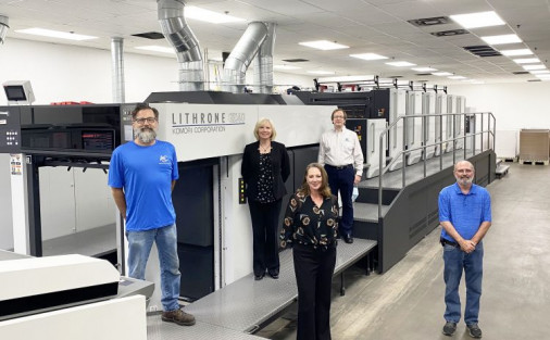 From left, Ron Kinney, first pressman; Jenise Cox, owner, CFO; Jana Harris, owner, CEO; Trent Tucker, GM; and Danny Smithson, plant manager, stand with the new six-color Komori Lithrone GX40.