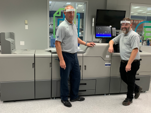 GM Nameplate creates customized face shields with logos using digital press