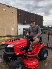 Tim Worzalla, a WorzallaPalooza grand prize winner, won a Craftsman 42˝ 439cc Gear Drive Riding Lawn Tractor.