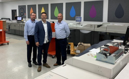 Overseeing databased printing and mailing at Omaha, Neb.-based Aradius Group are, pictured from the left: Greg Rust, VP of manufacturing; Chris Mueller, COO; and Ron Ferris, mailing services manager.