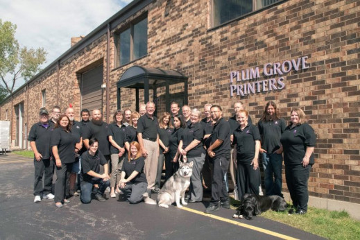 Plum Grove offers a dog-friendly workplace to the 30 individuals on the team.