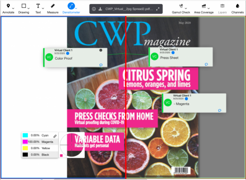 Clients can move a slider (in red) and compare the press proof (on the right) to the original digital proof (on the left) — eliminating the need for an onsite press OK.