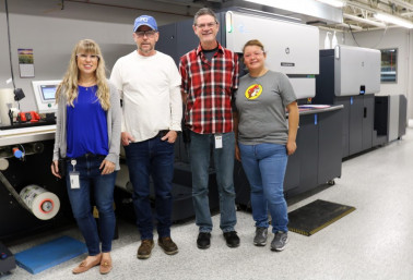 From left, Sarah Hibit, VP of operations; Mike Bayliff, digital press operator; Jerry Adams, digital press manager; and Rocio Garcia Ordaz, digital press operator, at Stouse.