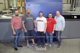 Marathon Press recently installed Konica Minolta's AccurioJet KM-1e LED UV Inkjet Press. From left, Max Alewel, Richard Haswell, Scott Pollman, Steven Schmit and Bruce Price.