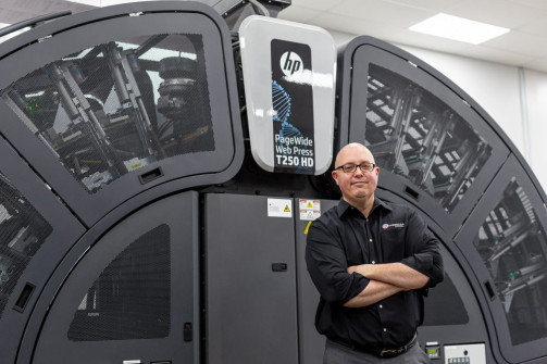 Frank Arostegui, executive VP of sales at American Litho, is very satisfied with the company's HP PageWide Web Press T250 HD.