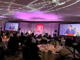 AlphaGraphics honored its top franchisees during the company's annual conference in San Diego, California. On-screen is Ryan Farris, COO and president of AlphaGraphics.