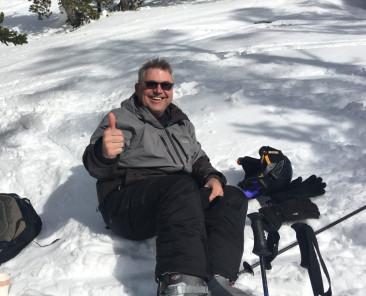 Steve Zenger takes a break on the slopes in Lake Tahoe.