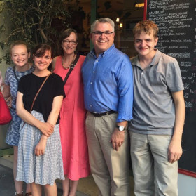 The Zenger family visited Paris in 2017. Standing, from left, are daughters Mary and Lily; wife Julie; Stephen; and son Jackson.