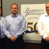 From the left, Greg Schiefelbein, KBA regional sales manager; Randall Johnson, Sandusky VP; and James Longer, Sandusky president, review the upcoming delivery for the new KBA Rapida 106 uniquely configured with System Brunner Instrument Flight, as well as new UV capabilities and a cornucopia of automation.