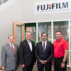 From left to right, NPES VP, Government Affairs Mark Nuzzaco; Brent Moncrief, VP strategic marketing and brand management, The Americas, Fujifilm North America Corp., Graphic Systems Division; Congressman Raja Krishnamoorthi; and, Don Schroeder, director solutions development, Fujifilm North America Corp.