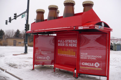Before Jan. 1, 2019, Colorado grocery stores and convenience stores weren't permitted to sell beer with more than 3.2% abv. The bus shelter graphics called attention to the fact that new law removes that restriction.