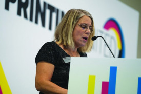 Lisa Cross, principal analyst, NAPCO Research, discussed embellishments and special effects for digital printing.